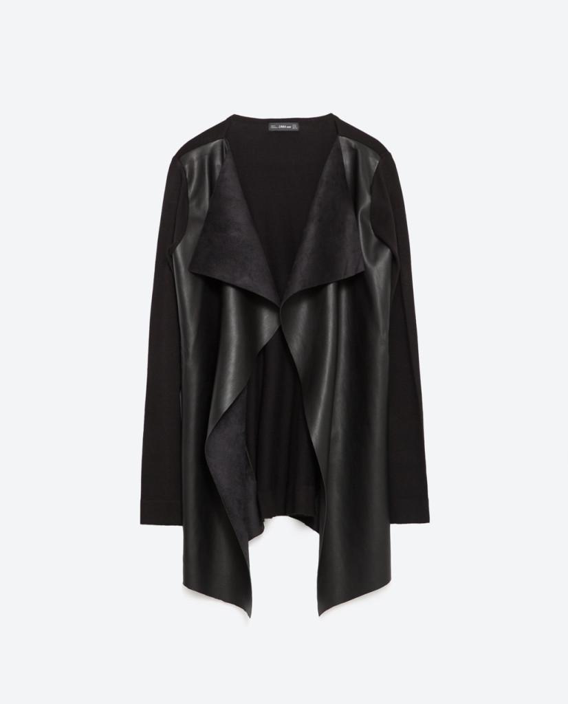 Fluido e lungo il blazer in pelle di Zara