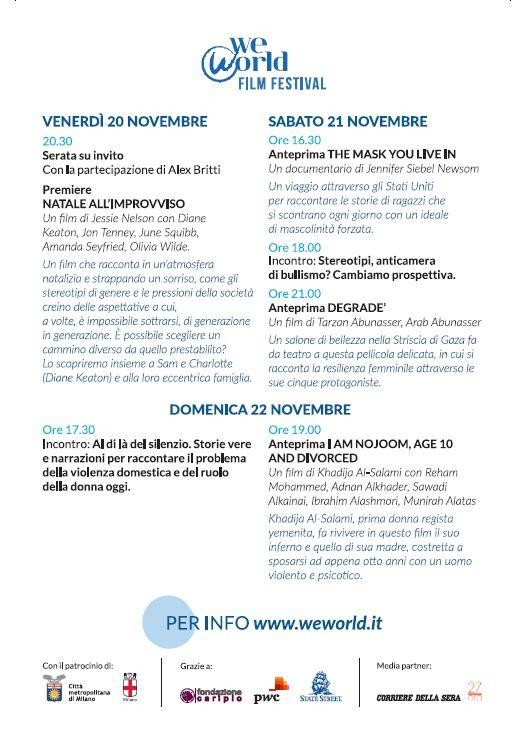 WeWorld Festival, dal 20 novembre a Milano