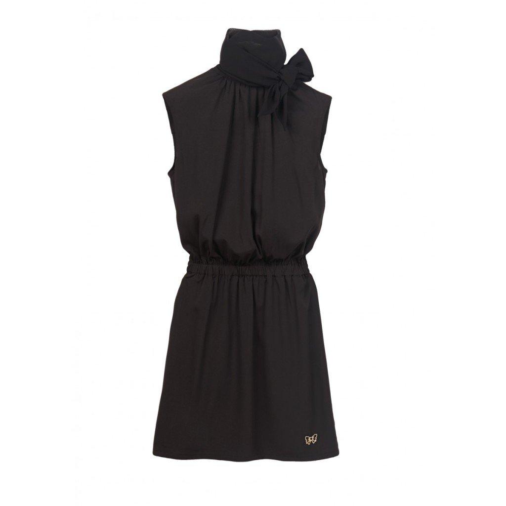 Fixdesign abito nero in crepe con nodo sul collo e ricamo sulla schiena (158 euro)