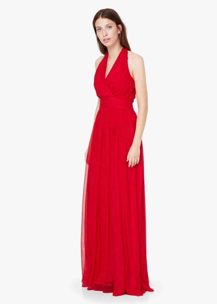Vestito lungo Mango fluido rosso intenso con scollo a V incrociato e dettaglio drappeggiato (139,90 euro)