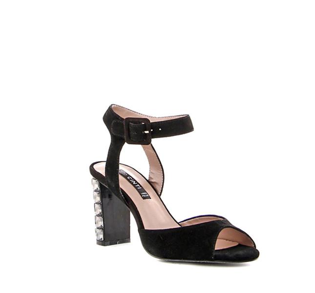 Cinti sandalo in suede nero con cristalli sul tacco