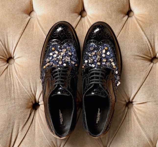 Dolce&Gabbana stringate nere in pelle con inserti gioiello