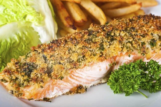 Salmone in crosta di mandorle pistacchi e semi ricetta for Salmone ricette