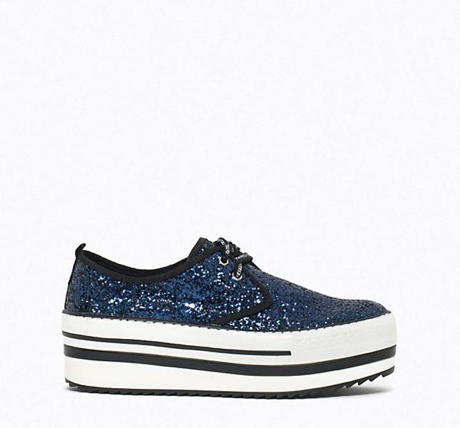Patrizia Pepe sneakers con suola alta e glitter