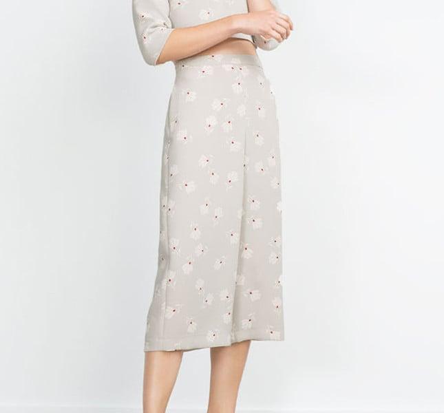 Zara Pantalone Decorazione Con Unadonna Fiori Culottes A 0BPqx0f