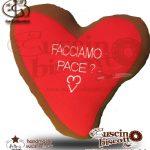 """CuscinoBiscotto - Amore Puro vers. Red - con Dedica """" Facciamo Pace?"""" - (fatto a mano in Italia)"""