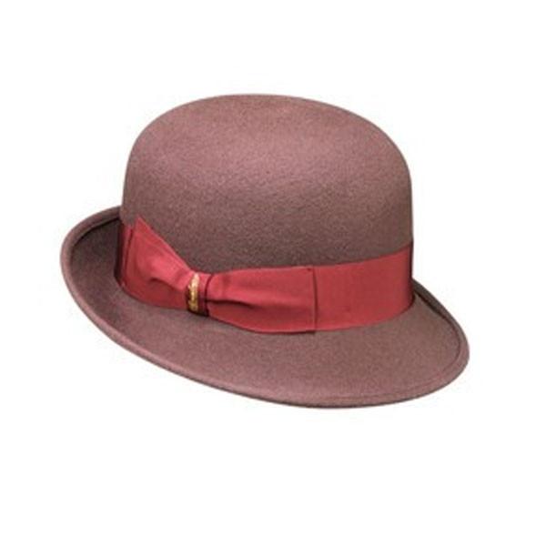 Borsalino bombetta in feltro di lana marrone testa di moro e rosso ciliegia (109,60 euro)
