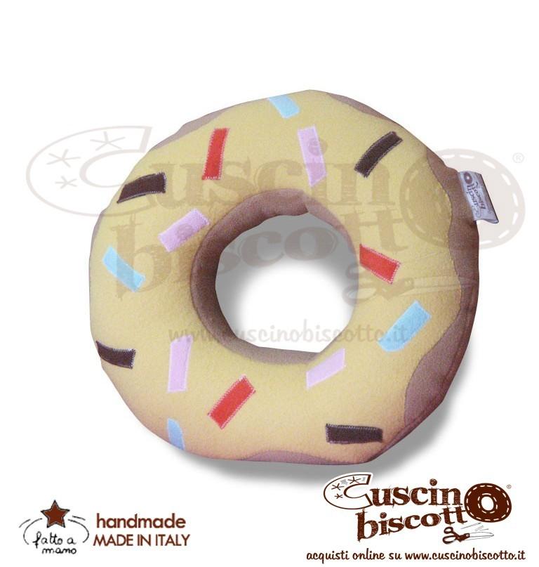 CuscinoBiscotto - Ciambella glassata/Donuts bianco - (fatto a mano in Italia)