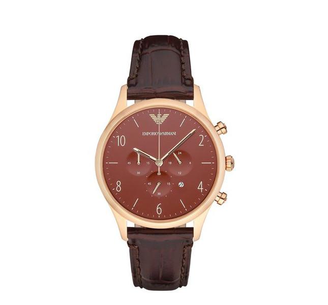 Emporio Armani orologio Cronografo cinturino in pelle