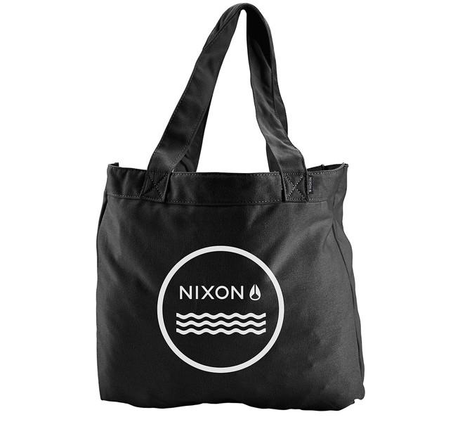 Nixon borsa Beach in cotone, color nero e con scritta in contrasto