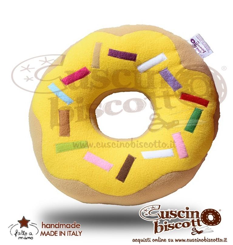 CuscinoBiscotto - Ciambella glassata/Donuts giallo - (fatto a mano in Italia)