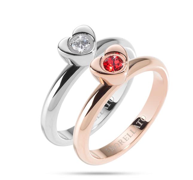 Morellato Love Rings in acciaio, pvd oro rosa e cristalli