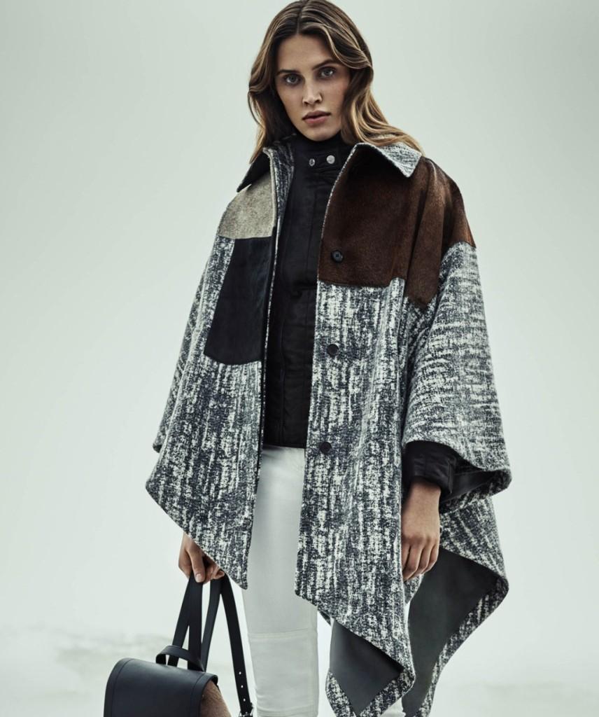 Belstaff mantella di lana e pelle con motivo patchwork