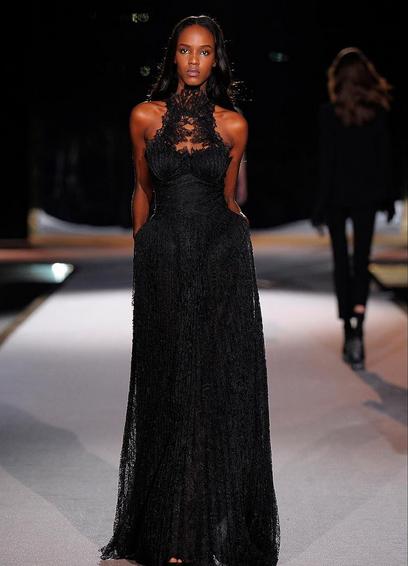 Ermanno Scervino long dress nero in pizzo