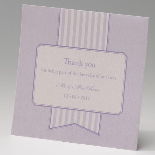 Bigliettino di ringraziamento, matrimonio a righe bianco e lilla di Amiche della Sposa