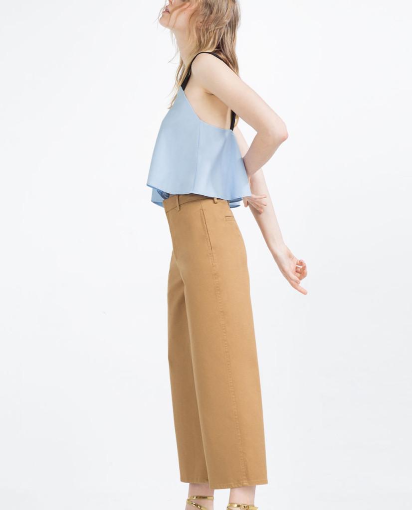 Pantaloni culotte Zara, color fango