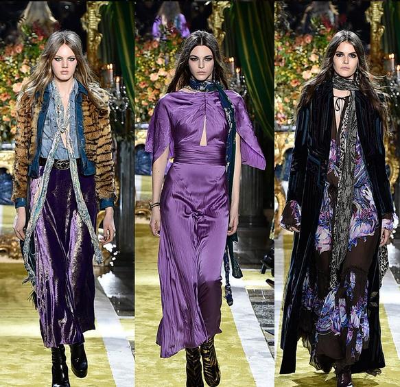 Roberto Cavalli abito viola e pantalone viola in velluto con giacca in pelliccia animalier