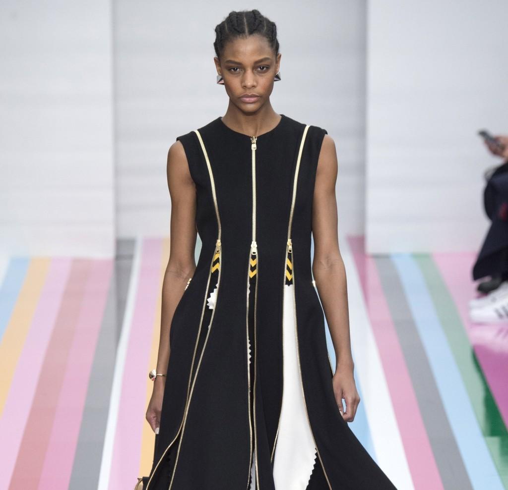 Salvatore Ferragamo long dress bianco e nero con zip