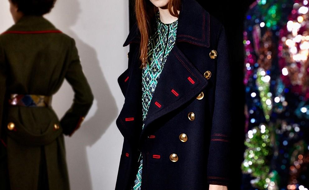 Burberry coat con impunture in contrasto di colore