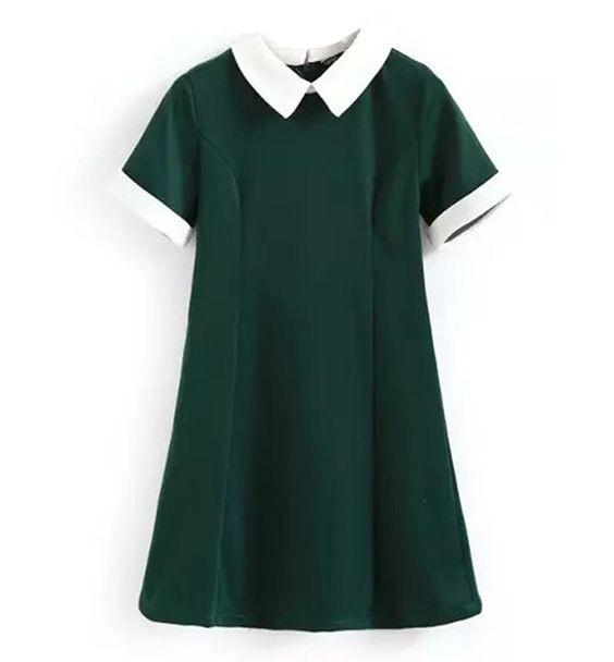 Abito verde con colletto in perfetto stile scolaretta di Stylemoi