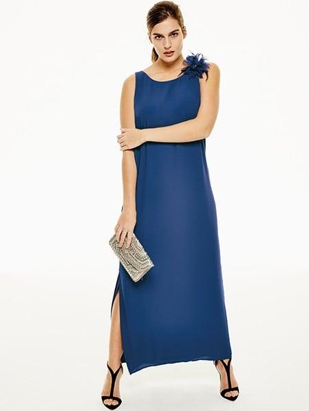Blu Fiorella Abito Con Tinta Unita Fiore Unadonna Lungo Rubino aqOwt1