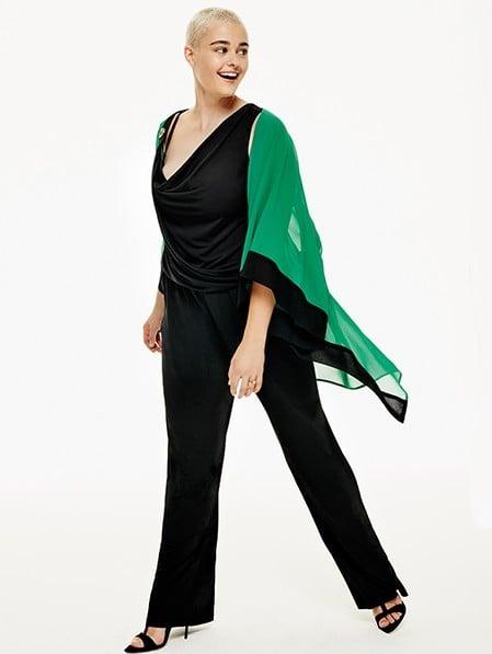 Fiorella Rubino jumpsuit con stola coordinata.