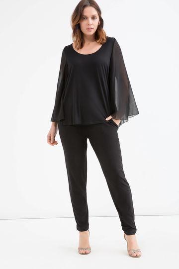 OVS blusa viscosa con manica a pipistrello nera.