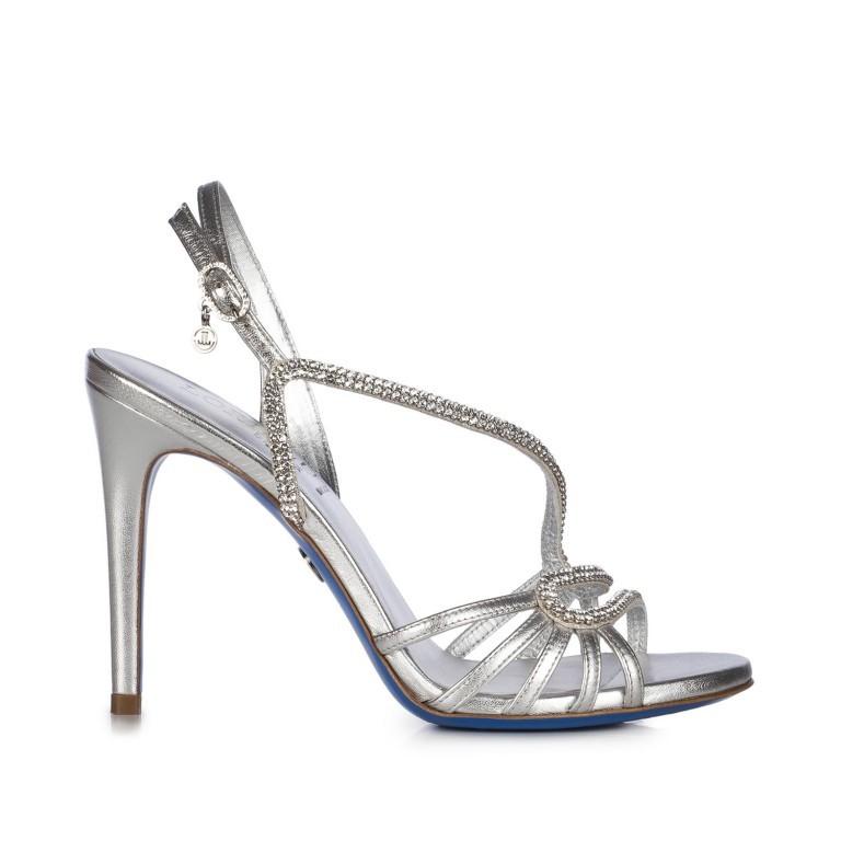 Loriblu, sandalo gioiello in nappa color argento con Swarovski Elements