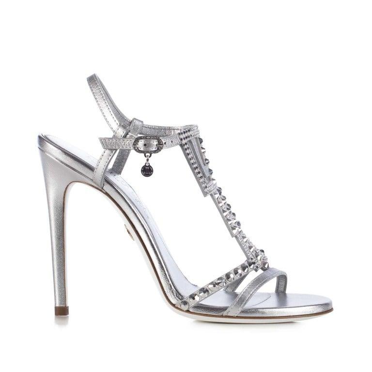 Loriblu, sandalo gioiello in nappa e camoscio color argento con Swarovski Elements