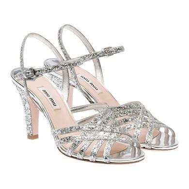 Miu Miu, sandalo argento con glitter