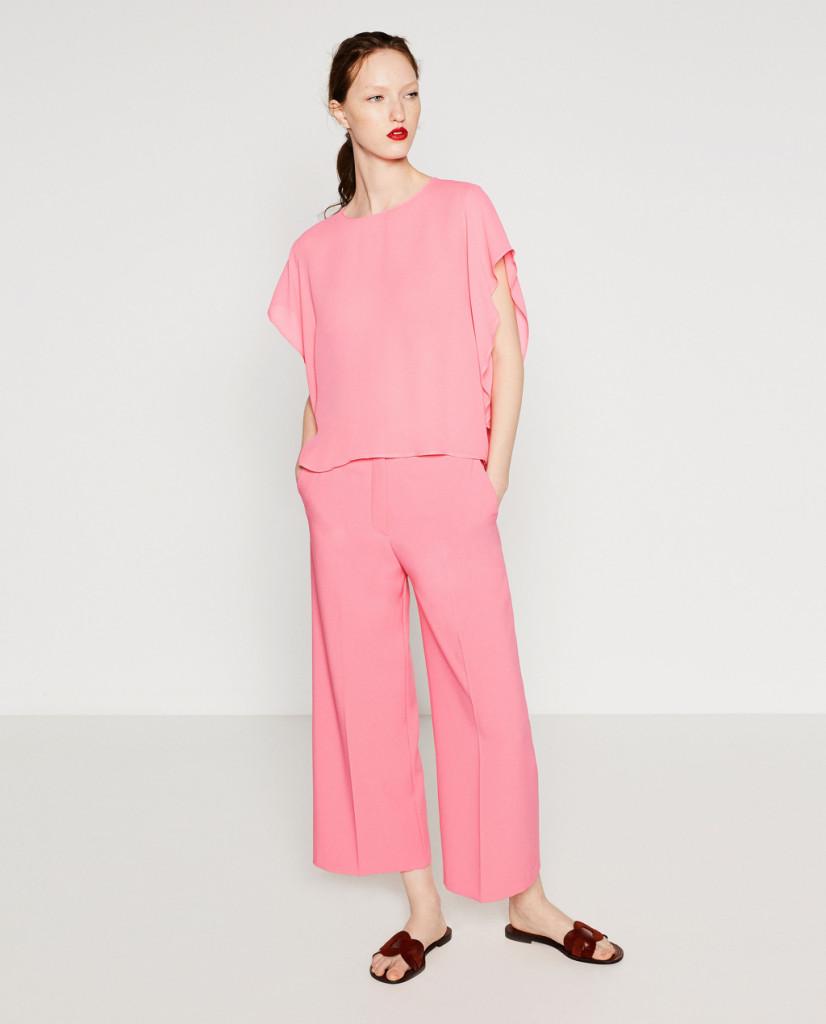 Maglia e pantalone casual color rosa - Zara P/E 2016.