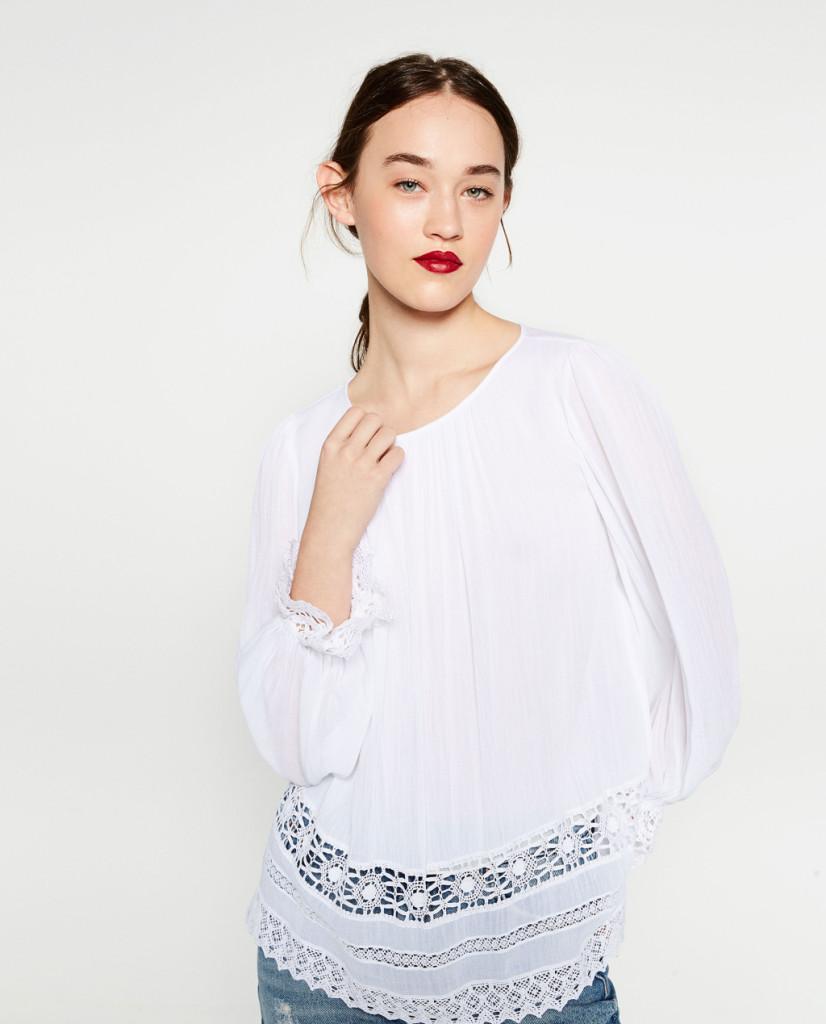 Camicia con ricami e dettagli in pizzo - Zara P/E 2016.