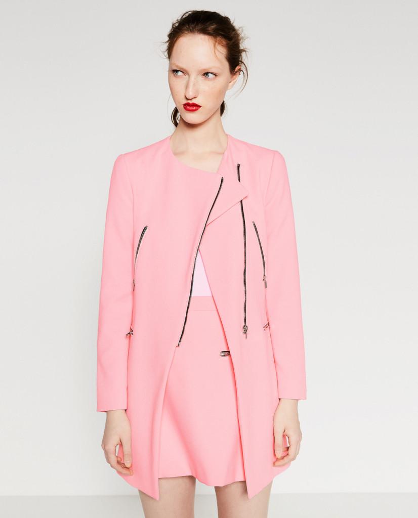 Blazer rosa confetto con chiusura laterale - Zara P/E 2016.