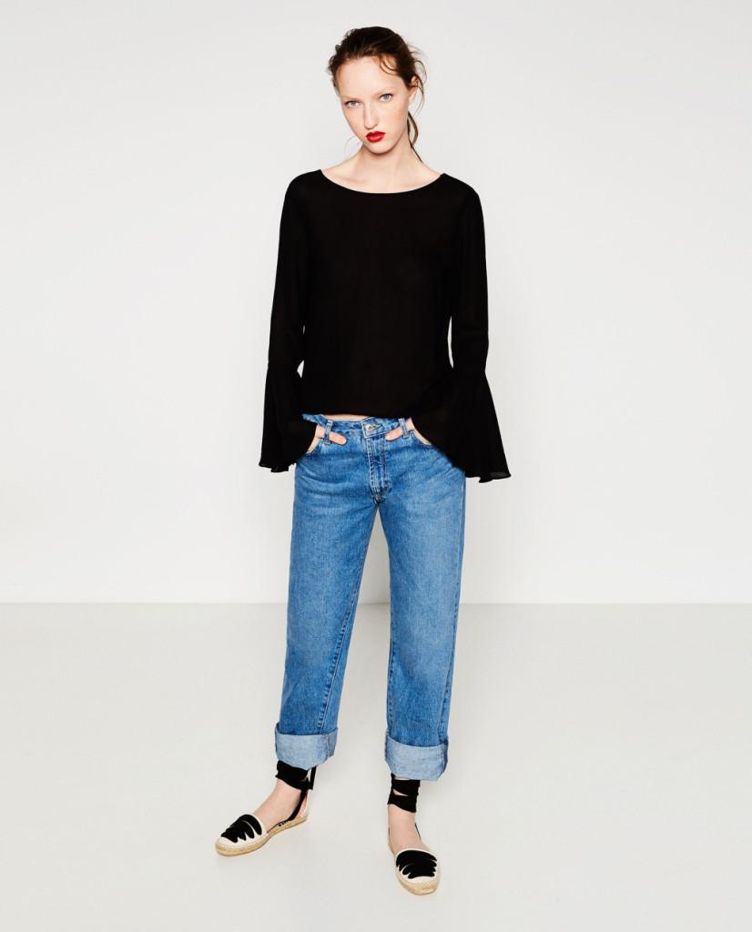 Maglia con volant sulle maniche e jeans boy-friend - Zara P/E 2016.