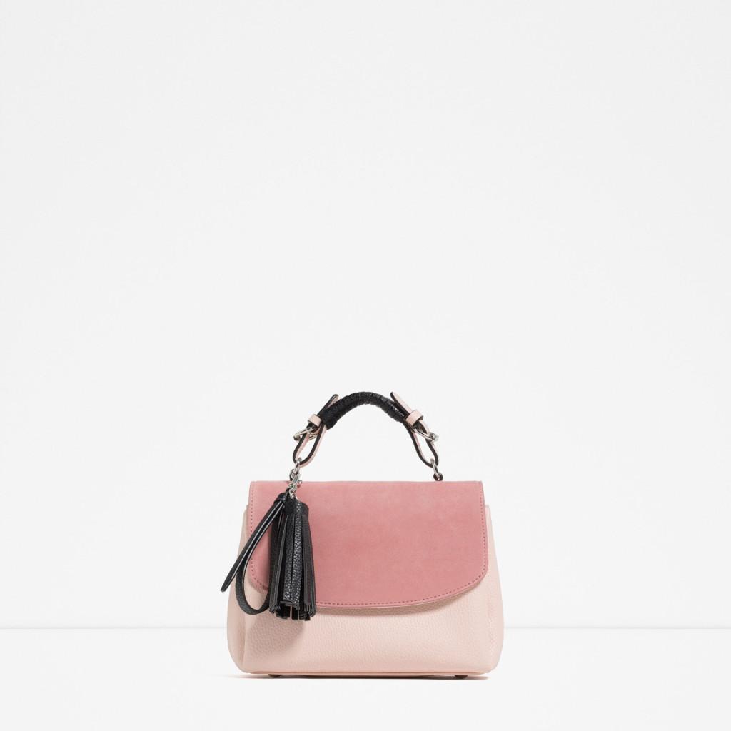 Handbag rosa pastello e manico in cuoio nero - Zara P/E 2016.