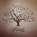 Un albero genealogico con i rami intrecciati ed elaborati con la scritta Family. Foto di prettydesigns.com