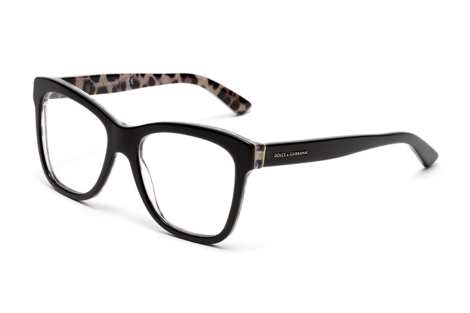Dolce & Gabbana dalla forma oversize in acetato nero e interno animalier (DG3212, colore 2857)