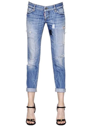 Dsquared2 jeans effetto usato a vita alta.