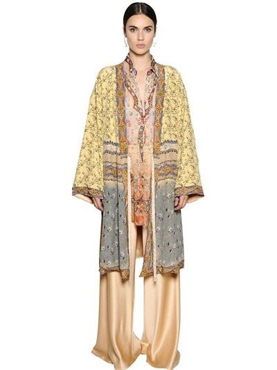 Etro cappotto vestaglia reversibile in raso e crêpe.