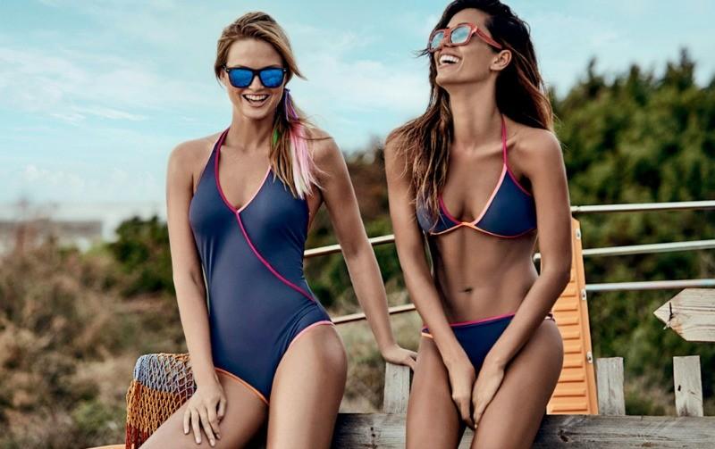 Modello basic in bikini due pezzi e costume intero. Moda Mare Goldenpoint 2016