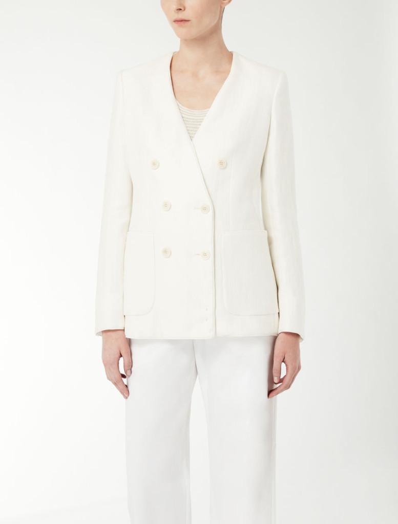 Max Mara giacca doppiopetto in stuoia di lino.