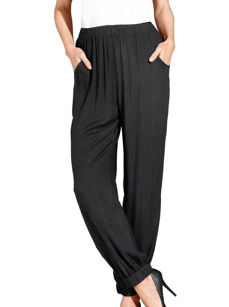 Moda Vilona pantaloni fluidi con elastico al fondo.