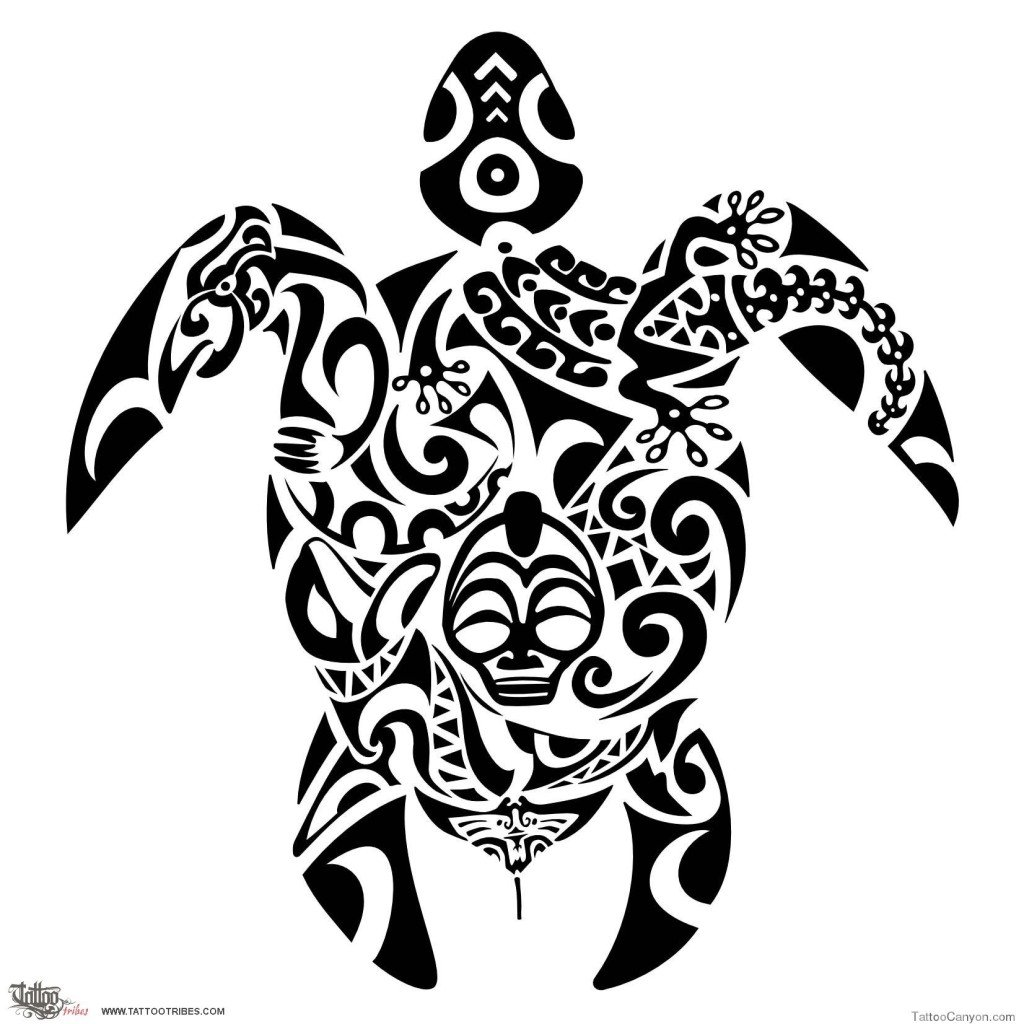 La tartaruga Maori è un altro animale che riconduce il suo significato all'amore famigliare. Foto di freetattoodesign