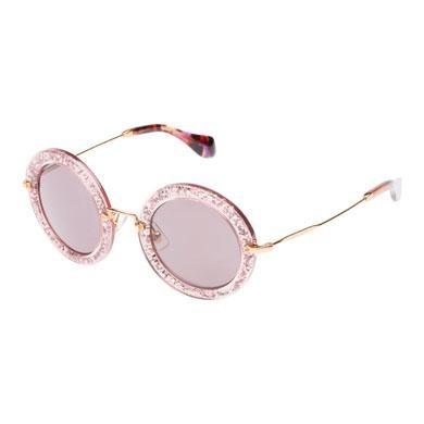 Occhiale con effetto glitter rosa Miu Miu
