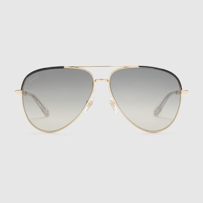 Occhiali da sole aviator con aste bamboo in metallo Gucci