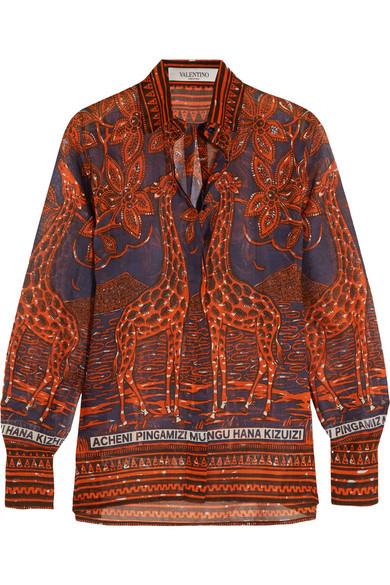 Valentino camicia con stampa di giraffe.
