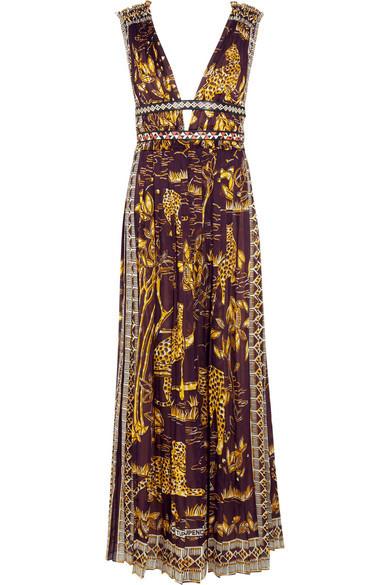Valentino vestito lungo con stampa di leopardi e fiori.