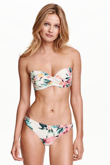 Bikini bianco a fascia intrecciata e motivo floreale di H&M