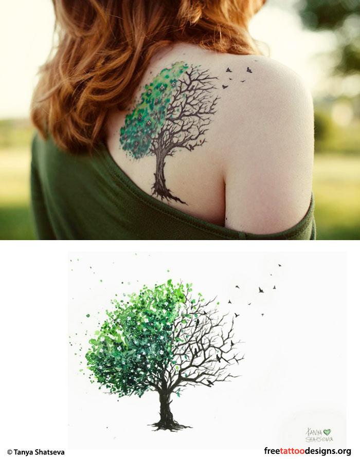 Un albero genealogico colorato e particolare. Foto di freetattoodesign