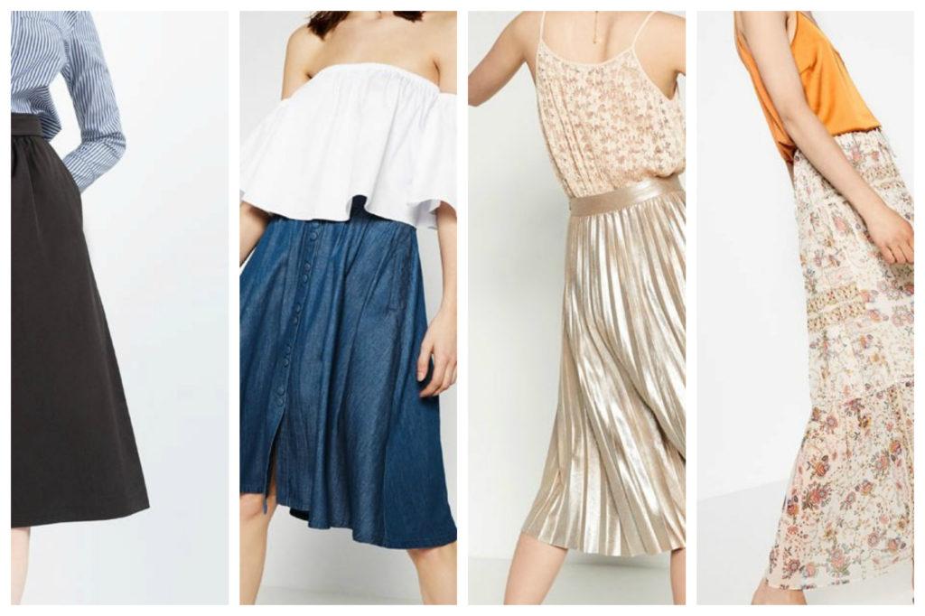 Midi, plissé, a ruota o longuette: tutte le gonne più cool di Zara, H&M e Mango per l'estate 2016.